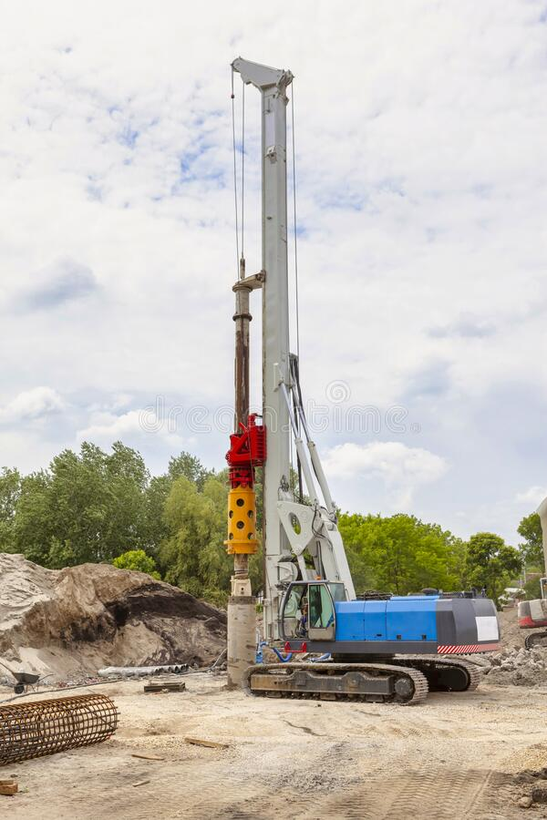 Hydraulic drilling machine on working site royalty free stock images