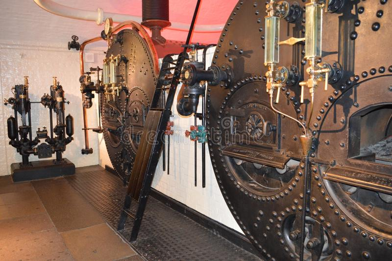 Hydraulic Engine Room. In an Old Bridge in London England stock images