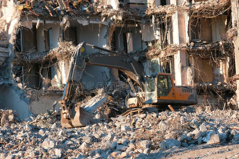 Hydraulic excavator building dismantling stock photos
