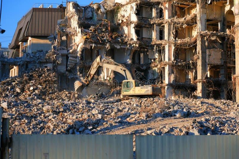Hydraulic excavator building dismantling royalty free stock photos