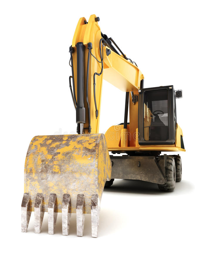 Hydraulic excavator. On a white background vector illustration
