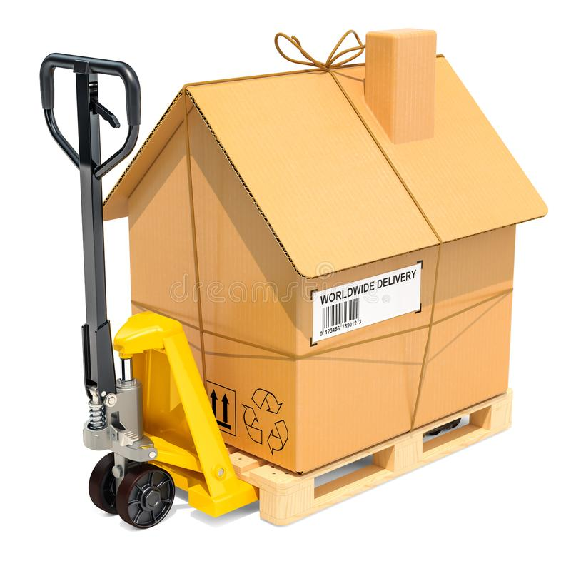Hydraulic hand pallet truck with cardboard house parcel. Residential Moving concept, 3D rendering vector illustration