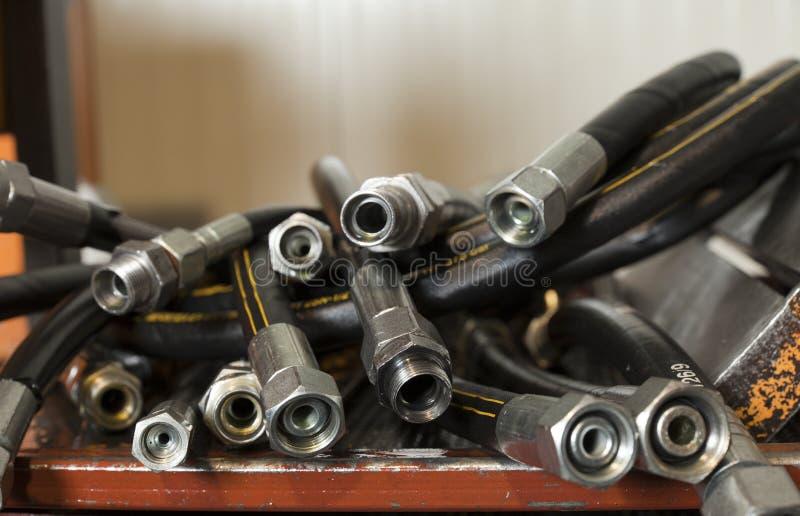 Hydraulic hoses stock photography