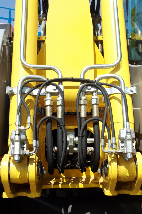 Hydraulic lift pressure pipes system stock images