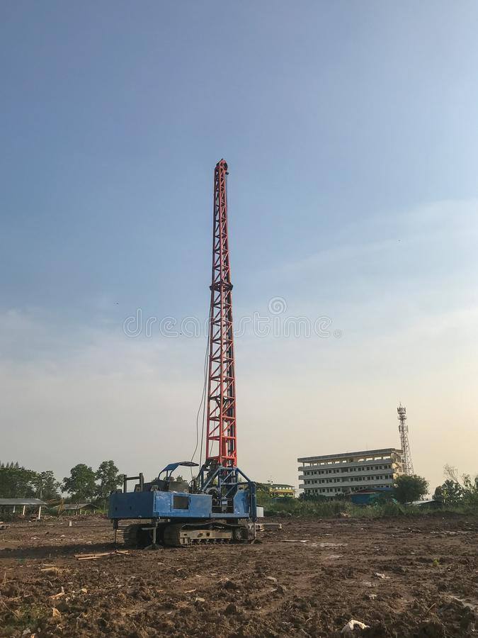 Hydraulic pile drilling machines at construction royalty free stock photography
