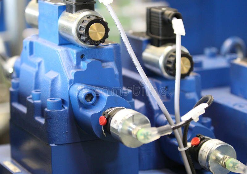 Hydraulic, pneumatic connection pipes. In cold metal cutting machine royalty free stock image