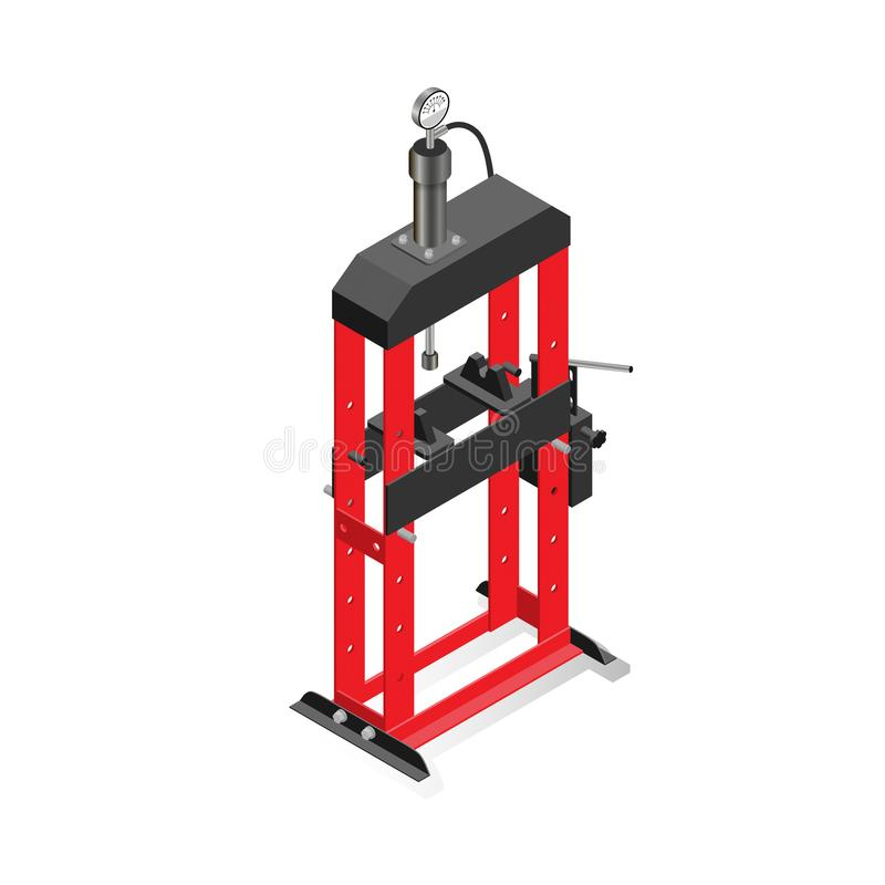 Hydraulic press, equipment for maintenance and repair of cars vector illustration