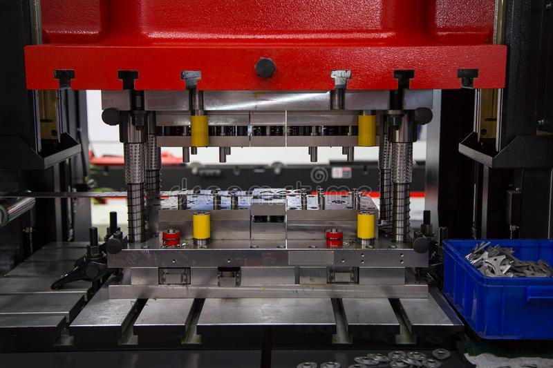 Hydraulic Press Machine. And fixture making rings stock photos