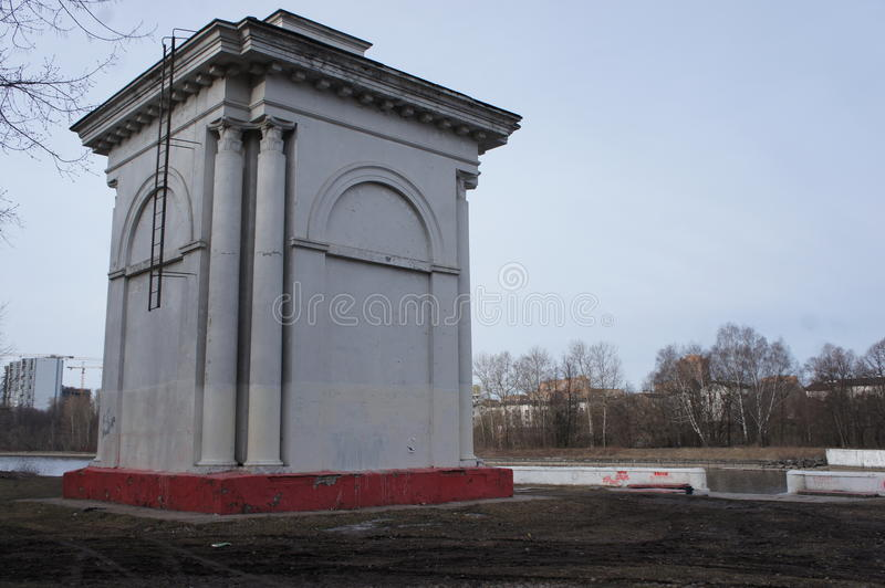 Hydraulic structure on the channel name of Moscow in the area of Dolgoprudny in Moscow region. Near the gateway of the Moscow canal in the area of Dolgoprudny in royalty free stock photos