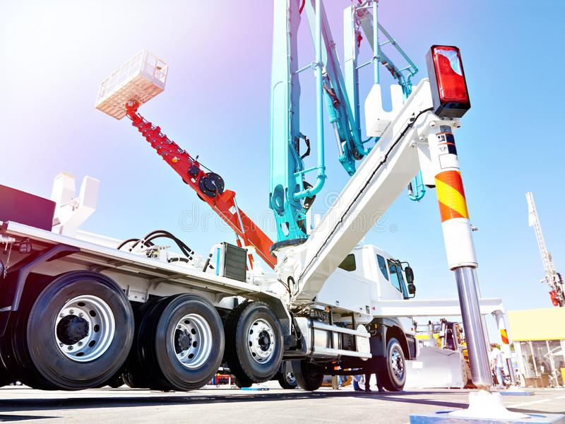 Hydraulic support for truck concrete pump. Hydraulic support for truck construction concrete pump stock image
