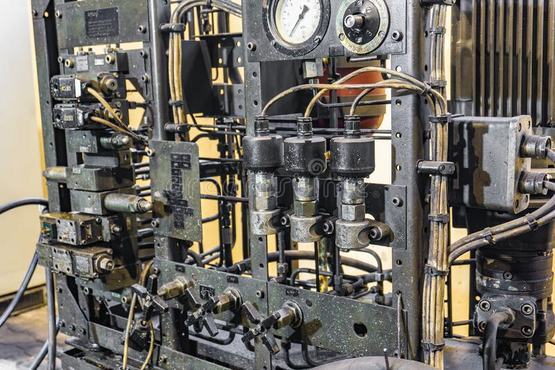 Hydraulic system of a metal cutting machine, high pressure oil station for lubrication of mechanical equipment royalty free stock photography