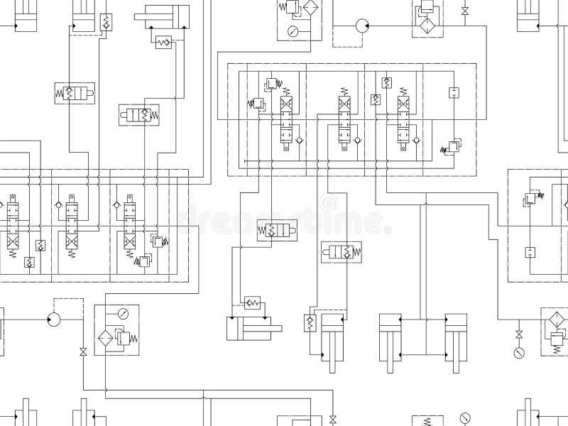 Hydrauliczny obwód maszyna Wielostrzałowy bezszwowy wzór dla technicznego projekta royalty ilustracja