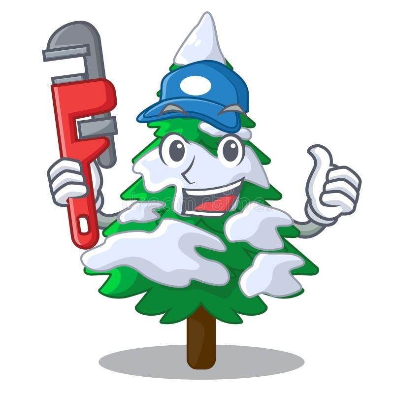 Hydraulik jodła z śnieżną choinki kreskówką royalty ilustracja