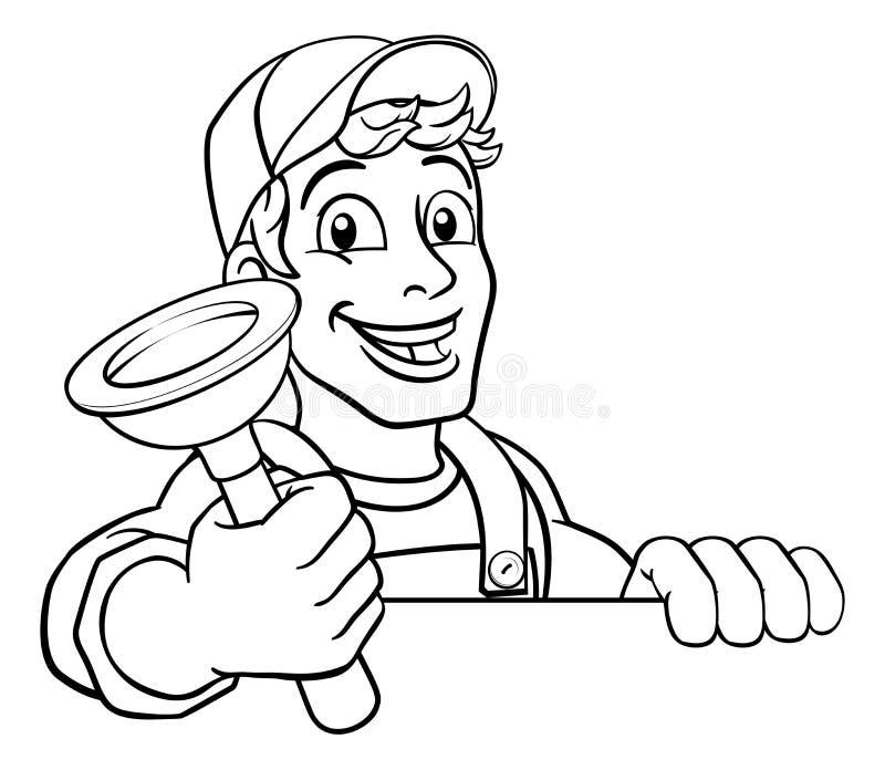 Hydraulik kresk?wki instalacji wodnokanalizacyjnej odcieku nurka z?ota r?czka royalty ilustracja
