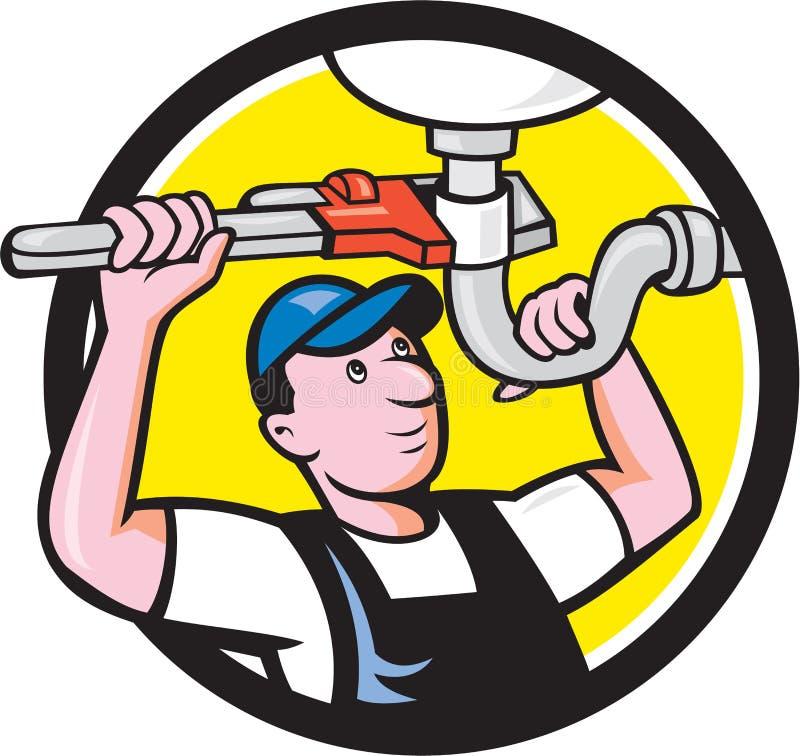 Hydraulik naprawy zlew Fajczanego wyrwania okręgu kreskówka ilustracji