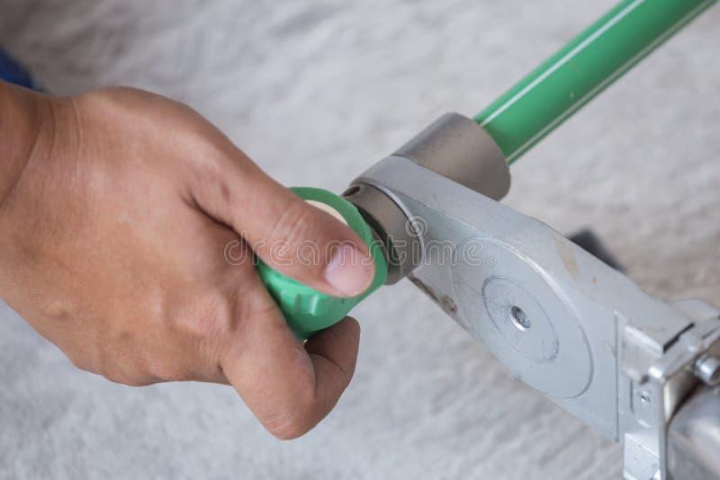 Hydraulik spawka dwa kawałka PPR drymba zdjęcia stock