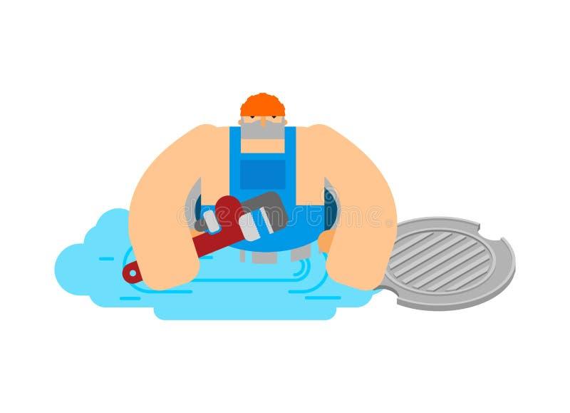 Hydraulik w manhole Pracownik pracuje w ściekowym manhole Społeczny wypadek Fajczany przeciek Pionować usługa royalty ilustracja