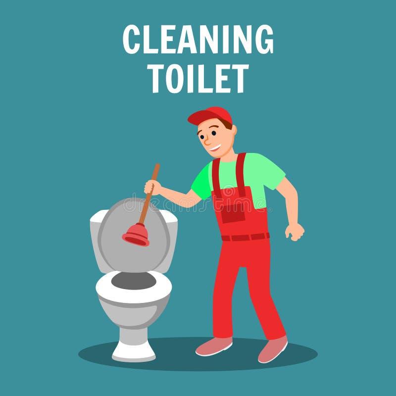 Hydraulik z nurkiem w ręce blisko Toaletowego pucharu ilustracji