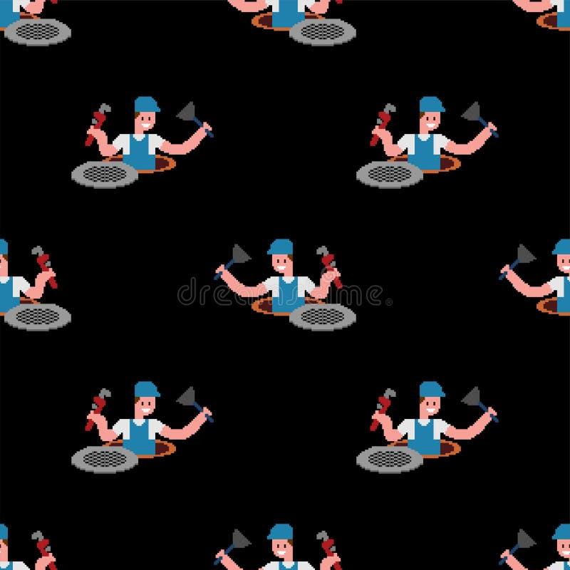 Hydraulika piksla sztuki wzór bezszwowy Pracować w kanału ściekowego 8 kawałka tle najlepszego ?ci?gania oryginalni druki przygot royalty ilustracja