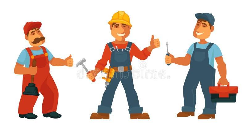Hydraulika repairman i elektryk odizolowywaliśmy techników w mundurze ilustracja wektor