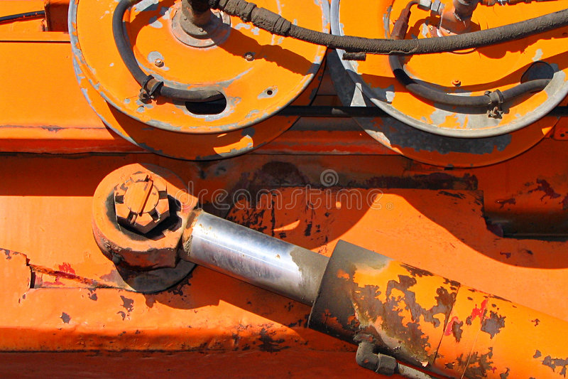 Hydrauling Arm und Räder lizenzfreies stockfoto