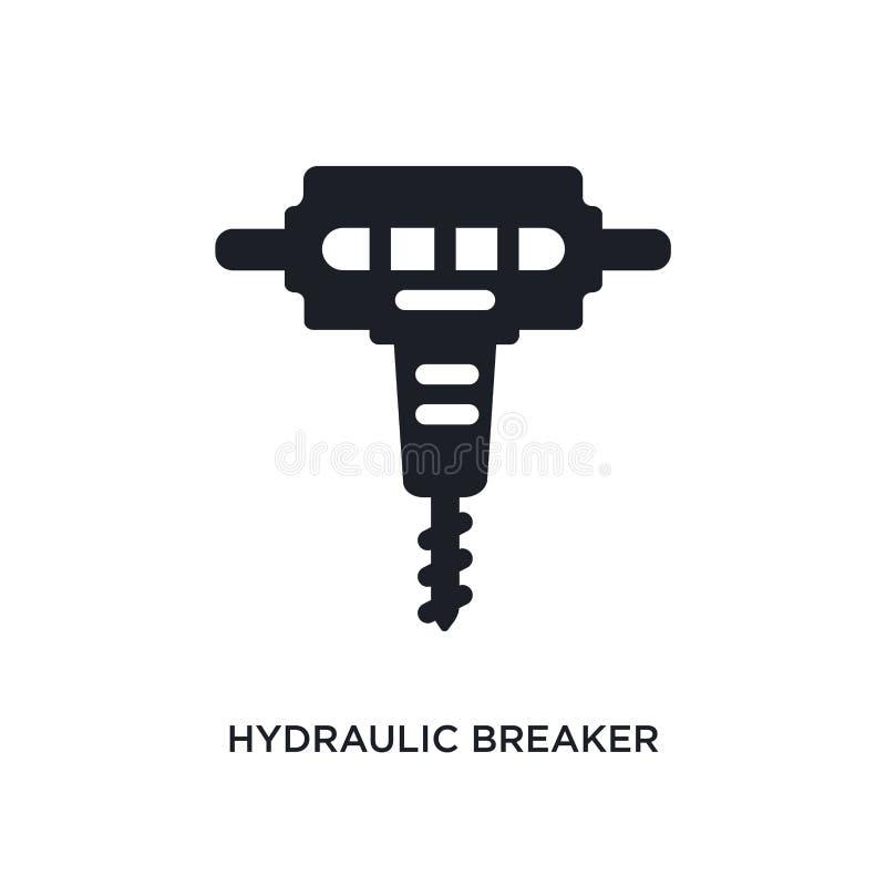 hydraulisch breker geïsoleerd pictogram eenvoudige elementenillustratie van de pictogrammen van het bouwconcept het hydraulische  stock illustratie