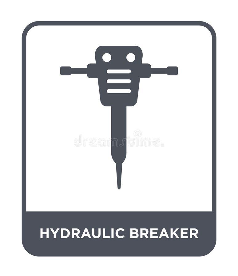 hydraulisch brekerpictogram in in ontwerpstijl hydraulisch die brekerpictogram op witte achtergrond wordt geïsoleerd hydraulisch  royalty-vrije illustratie