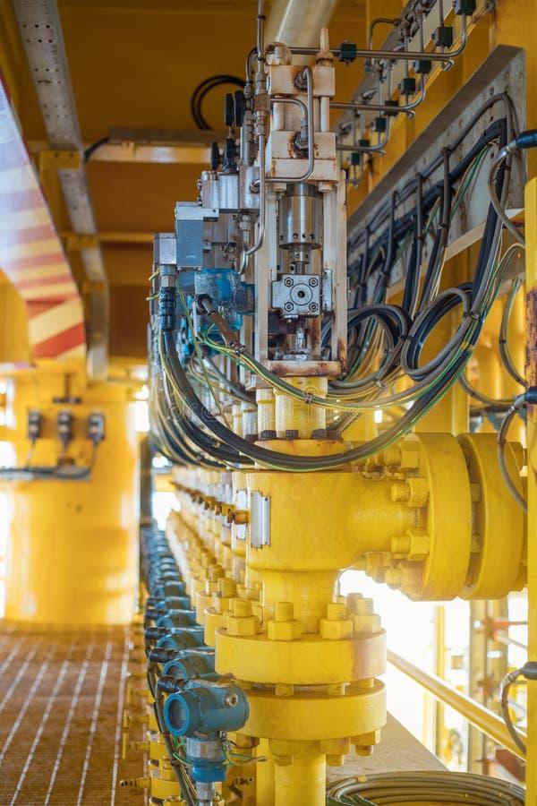 Hydraulische actuator van de vernauwingsklep en het klepinstelmechanisme voor controle en de stroomtarief van het monitorgas dit  royalty-vrije stock foto's