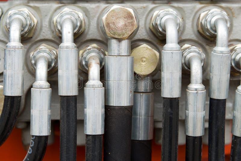 Hydraulische Buizen op Zwaargewicht Machines royalty-vrije stock foto's