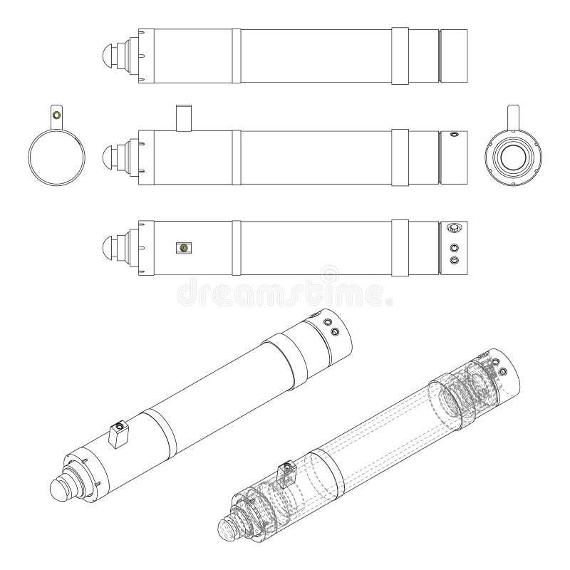 Hydraulische cilinder Technische vectortekening stock illustratie