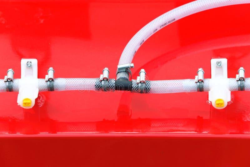Hydraulische verbindingen van een machines industrieel detail stock afbeeldingen