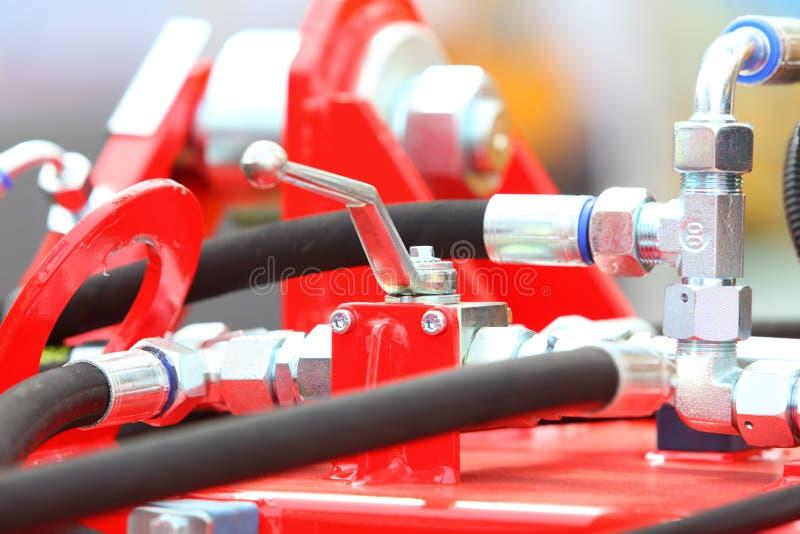 Hydraulische verbindingen van een machines industrieel detail royalty-vrije stock foto