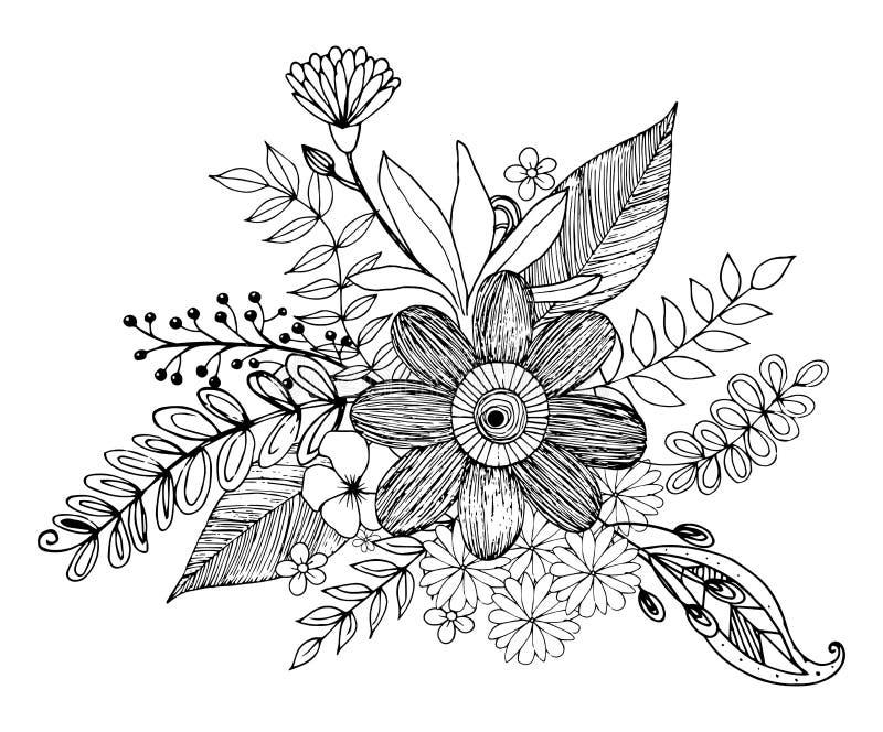 Hydrengea blommaklotter som freehand drar och att färga sidan med klotter vektor illustrationer
