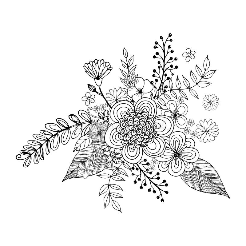 Hydrengea blommaklotter som freehand drar och att färga sidan med klotter royaltyfri illustrationer
