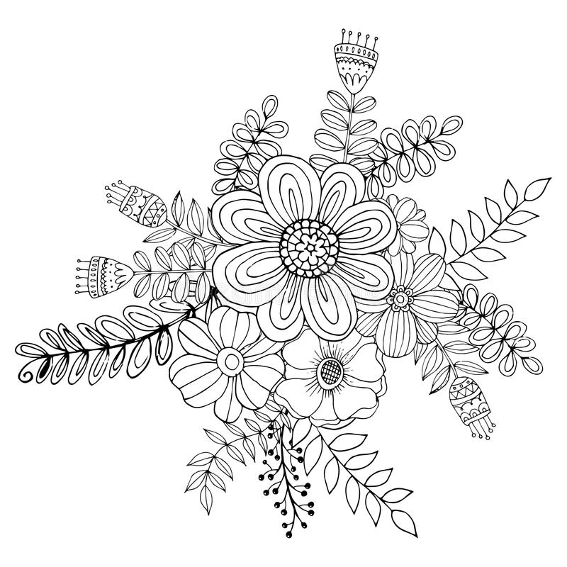 Hydrengea Flower Doodle Drawing Freehand , Coloring Page With Doodle ...