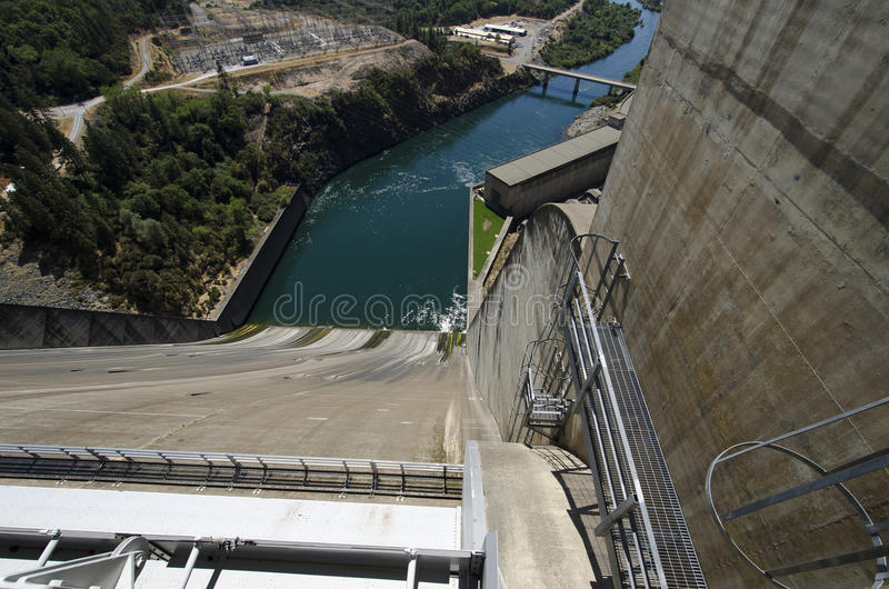Hydro dam spillway and river view usa stock photo image of