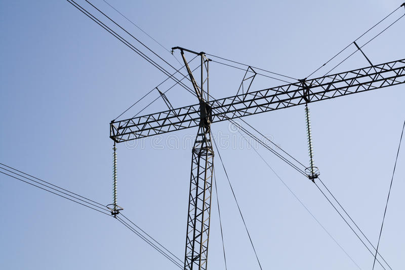 Hydro electric power lines stock image
