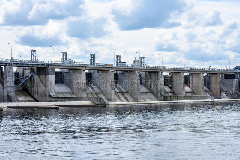 hydro electric power station gates for water stock image
