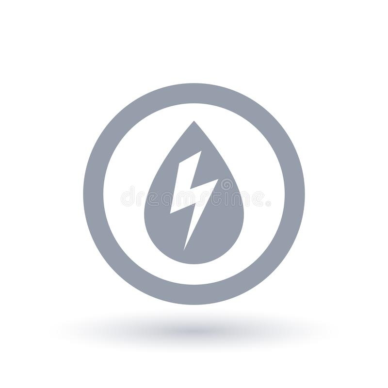Hydro electricity icon. Water drop with energy bolt symbol. vector illustration
