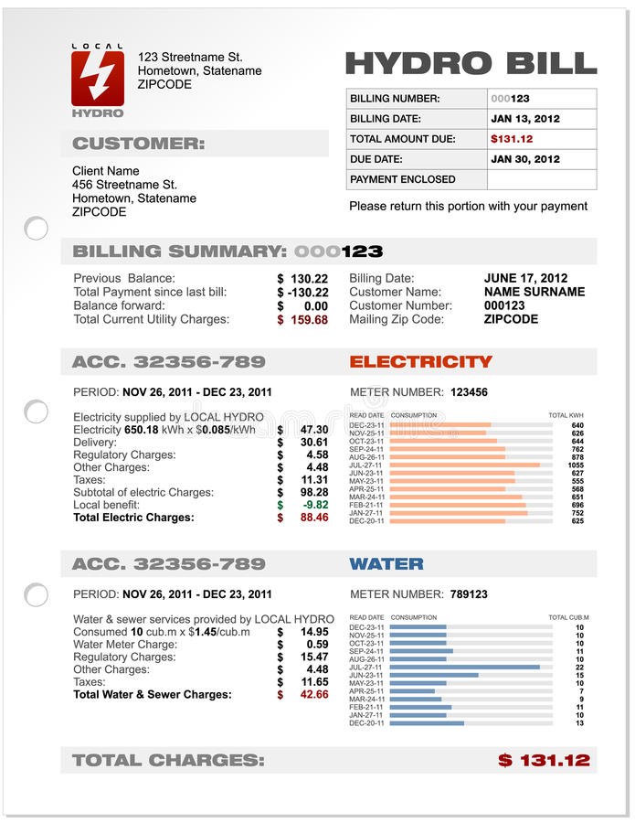 Free Hydro Electricity Utilities Bill Royalty Free Stock Photos - 25168148