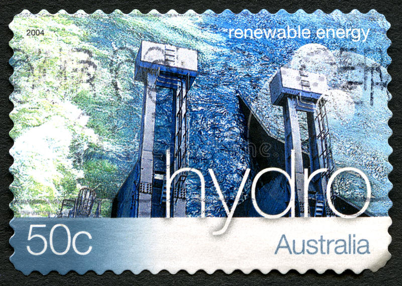Hydro Energy Australian Postage Stamp. AUSTRALIA - CIRCA 2004: A used postage stamp from Australia, promoting Hydro Energy - a renewable energy source, circa royalty free stock image