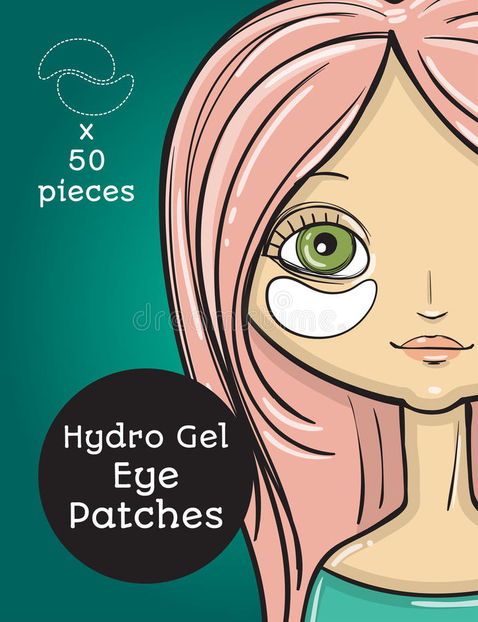 Hydro Gel eye Patches ads. Vector Illustration with girl, package design. Ready cover stock illustration