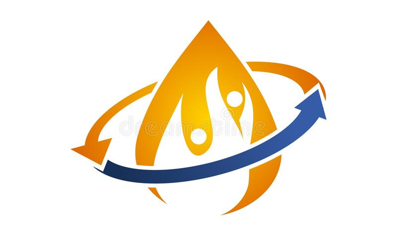 Hydro Healthy Logo Design Template stock illustration