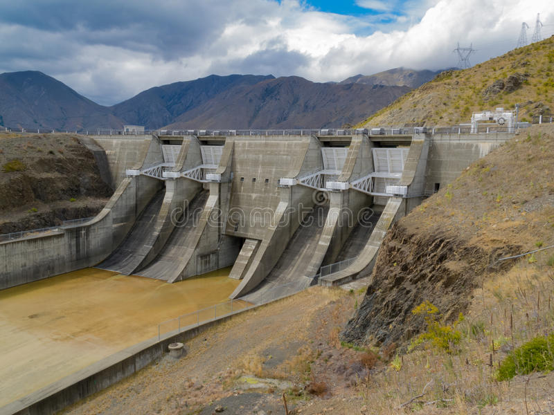 Hydro power generation concrete dam spillway gate stock photography