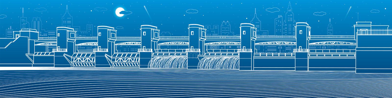 Hydro power plant. River Dam. Energy station. Water power. City infrastructure industrial illustration panorama. White lines on bl. Ue background. Vector design royalty free illustration