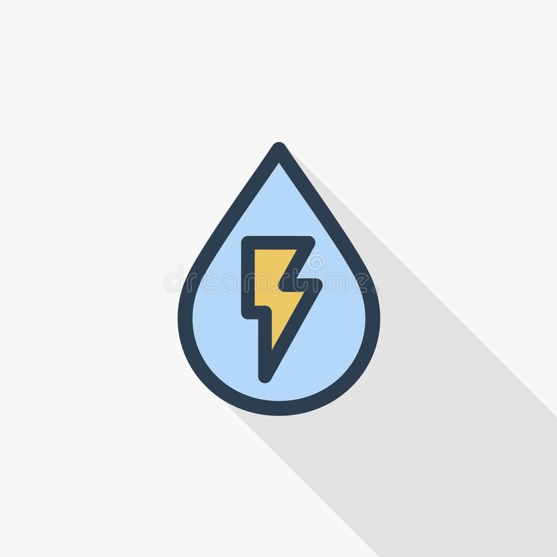 Hydro Power Thin Line Flat Color Icon Linear Vector Symbol