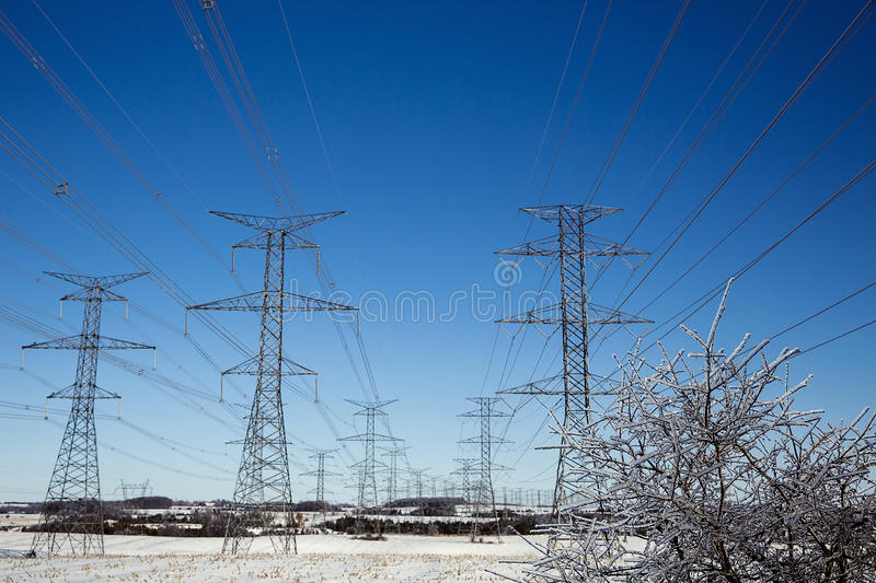 Hydro towers ice storm royalty free stock photos