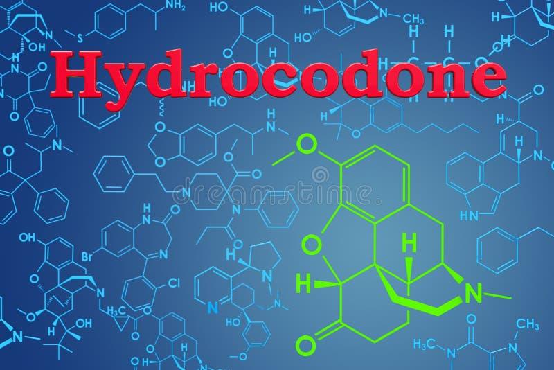 Hydrocodone Chemiczna formuła, cząsteczkowa struktura świadczenia 3 d ilustracja wektor