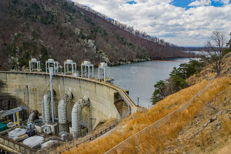 Hydroelectric Dam at Smith Mountain Lake. Sandy Level, VA – January 8th: View of Smith Mountain Hydroelectric Dam located, in Bedford and Pittsylvania royalty free stock images