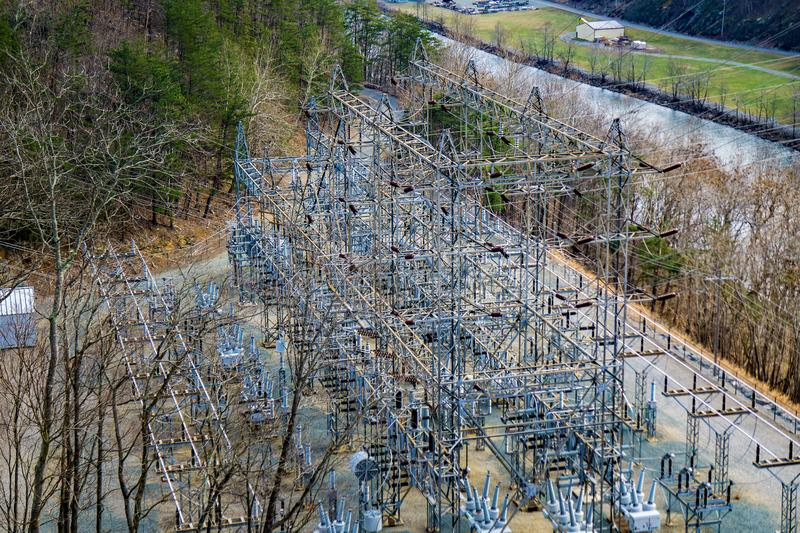 Hydroelectric Power Grid at Smith Mountain Dam. Sandy Level, VA – January 8th:A view of the hydroelectric power Grid at Smith Mountain Hydroelectric Dam royalty free stock image